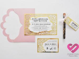 Złote zaproszenia ślubne wycinane laserowo glamour, nietypowe i oryginalne