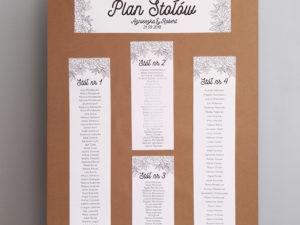 Rustykalny plan stołów na papierze ekologicznym, eko, w stylu boho