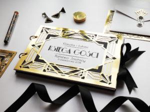 Elegancka, złota księga gości w stylu glamour Art Deco, Wielki Gatsby