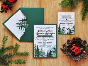 Rustykalne zaproszenia ślubne z motywem drzew, świerków w stylu boho
