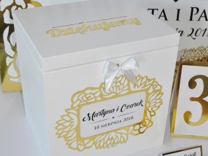 Eleganckie pudło na koperty, numery na stół, winietki z motywem kwiatów w kolorze złota w stylu glamour