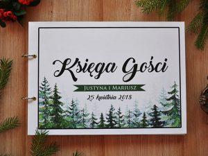 Rustykalna księga gości z motywem drzew, świerków w stylu boho