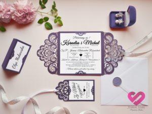 Zaproszenia z koronką ażurowe, romantyczne zaproszenia ślubne w stylu glamour