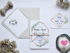 Rustykalne proste zaproszenia ślubne z motywem eukaliptusa, liści w stylu boho