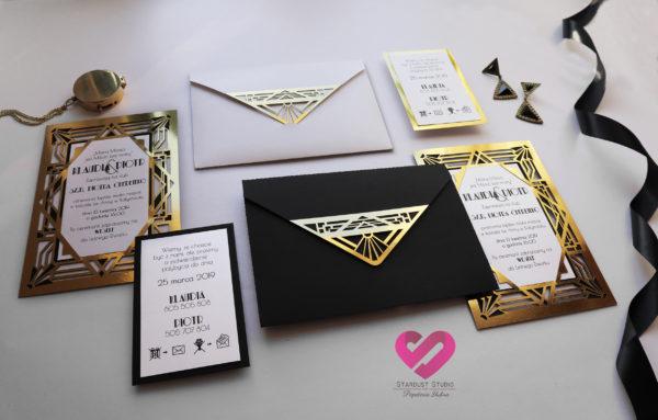 Eleganckie, złote zaproszenia ślubne z motywem Art Deco, Wielki Gatsby