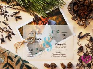 Rustykalne, eko zaproszenia ślubne ze zdjęciem i pergaminem w stylu boho