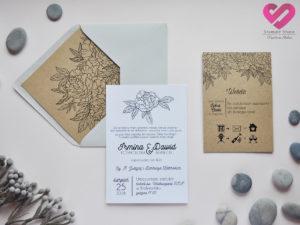 Proste, rustykalne zaproszenia ślubne na papierze ekologicznym w stylu rustykalnym, boho z motywem kwiatów