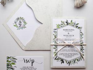 Minimalistyczne zaproszenia ślubne z motywem liści, naturalne, boho, eko