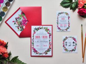 Rustykalne zaproszenia ślubne z motywem kwiatów w stylu boho