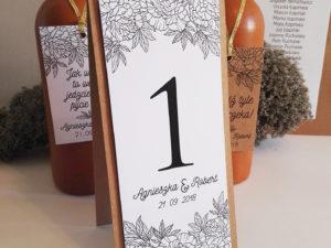 Rustykalne numery na stół weselny na papierze eko, w stylu boho