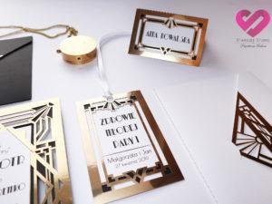Zawieszki art deco Eleganckie, złote zawieszki weselne z motywem Art Deco, Wielki Gatsby