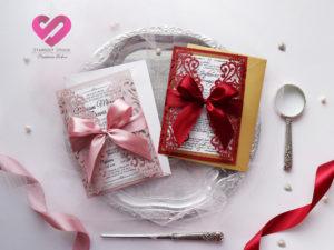 Zaproszenia ślubne z kokardą laserowe otwierane romantyczne zaproszenia ślubne pudrowy róż