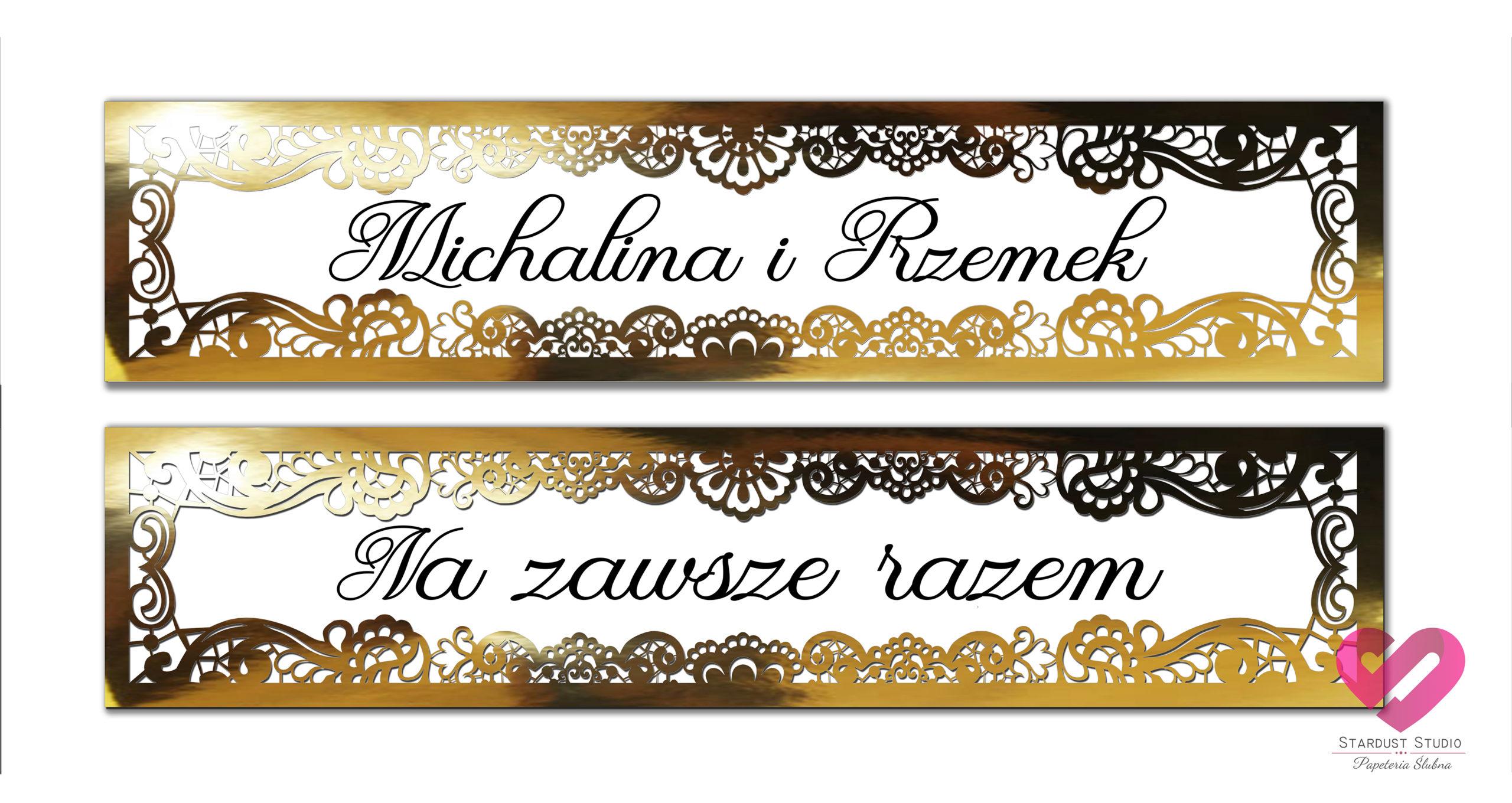 Oryginalne, wycinane ażurowo ślubne tablice rejestracyjne w stylu glamour w kolorze złota