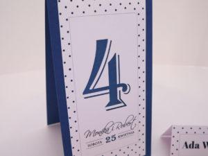 Oryginalne numery na stoły w stylu pin-up numery na stół w kropki