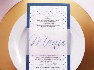 Zabawne dodatki na ślub i wesele, pin-up menu weselne z pergaminową opaską w kropki
