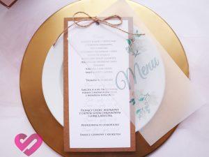 Rustykalne, naturalne menu weselne z pergaminem, na papierze ekologicznym w stylu boho, eko.