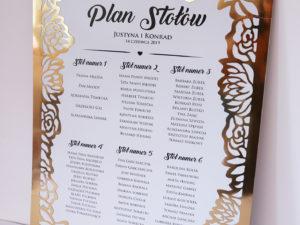 Plan stołów glamour Eleganckie, ażurowe plany stołów w stylu glamour, ze złotą ramą z motywem kwiatów