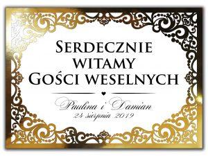Eleganckie, oryginalne, ażurowe banery weselne witające gości w kolorze złota w stylu glamour.