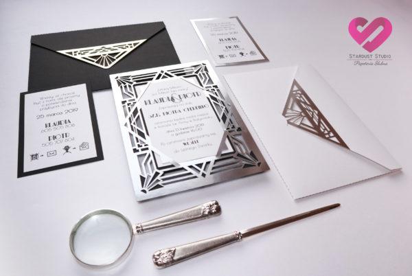 Nowoczesne, wycinane ażurowo zaproszenia ślubne Art Deco, Wielki Gatsby w stylu glamur z elementami srebra.