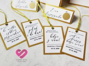 Oryginalne zawieszki na alkohol, zabawne, złote winietki i zawieszki ślubne na stół weselny ze zdrapką w stylu glamour