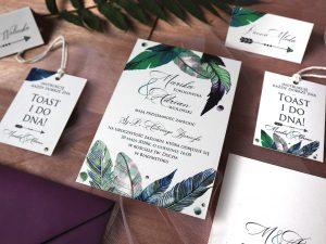 Zaproszenia ślubne boho naturalne, rustykalne, eko zaproszenia ślubne i dodatki na stół weselny w stylu boho z motywem piór
