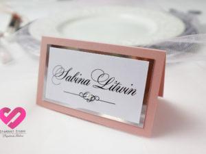 Eleganckie klasyczne winietki ślubne w stylu glamour z elementami srebra