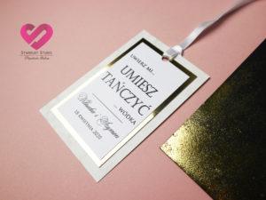 Nowoczesne, modern zawieszki ślubne w stylu glamour z elementami złota i delikatną wstążką