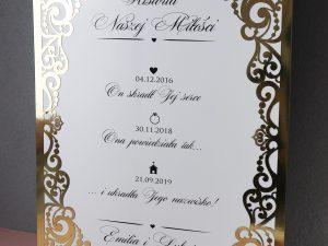 Oryginalny złoty baner weselny, plan stołów w stylu glamour, złoty ażur. Kolekcja Royal.