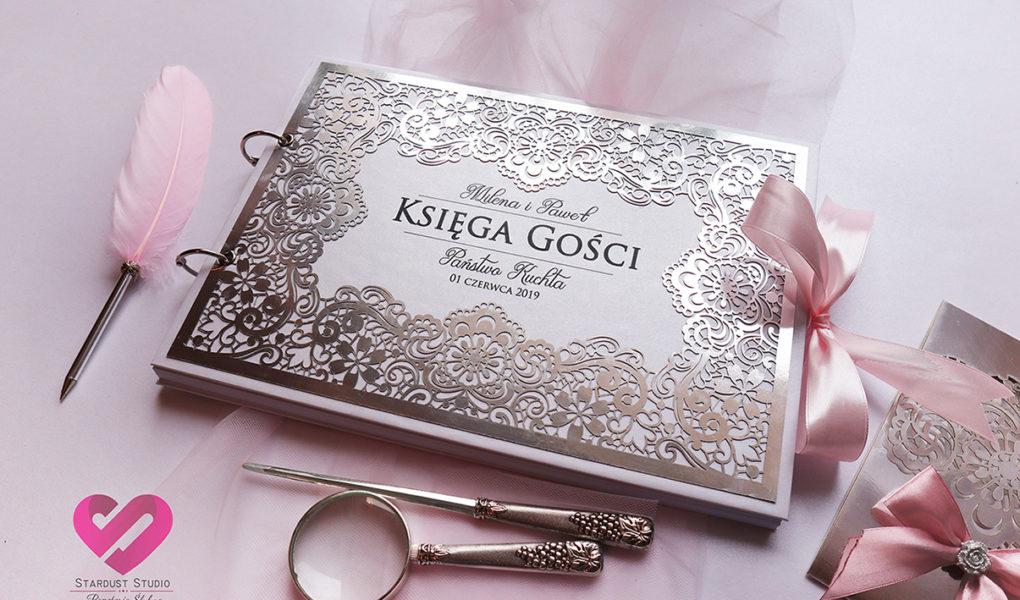 Księga gości srebrna koronka zaproszenia ślubne