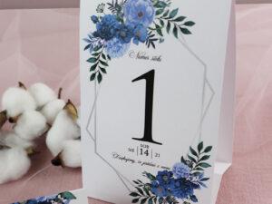 Numery na stoły geometryczne, kwiatowe niebieskie