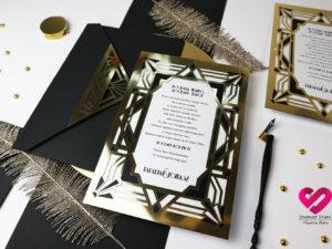 Art Deco zaproszenia dla rodziców art deco gatsby
