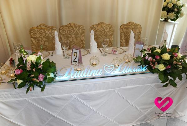 imiona led dekorajca sali weselnej podświetlana