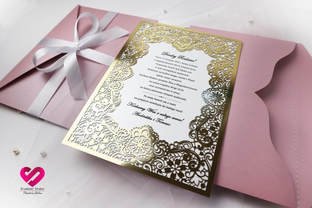 Zaproszenia dla rodziców złote zaproszenia ślubne wycinane laserowo