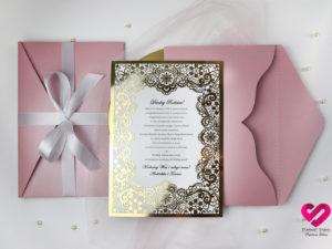 Zaproszenia dla rodziców prośba o błogosławieństwo glamour złota
