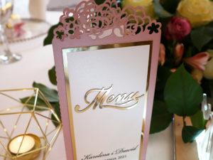 menu weselne laserowe złote w stylu glamour menu weselne na stół weselny