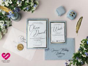 Zaproszenia z papieru czerpanego classy blue vintage