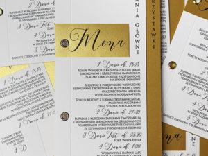 Nowoczesne menu weselne na stół weselny