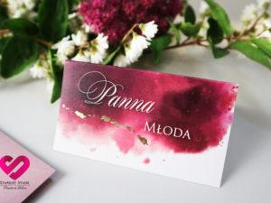 Winietki ślubne złocone ręcznie rubinowe sny akwarelowe ze złoceniem