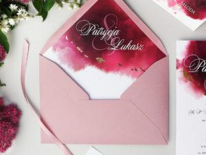 Zaproszenia akwarele róż bordo nowoczesne złocenie