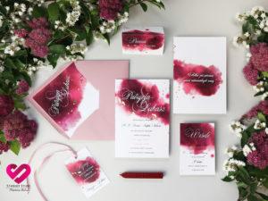 Zaproszenia akwarele róż bordo złocenie