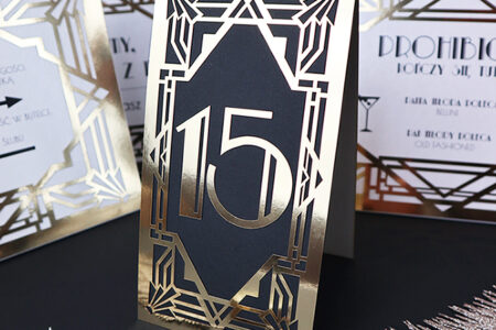 Numery na stół weselny Art Deco w stylu Wielki Gatsby