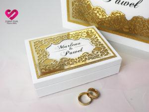 Pudełko na koperty złote glamour poduszki na obrączki