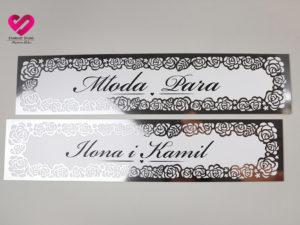 Tablice rejestracyjne weselne srebrne lustrzane glamour róże