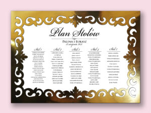 Plan stołów glamour złoty laserowy do postawienia na sztaludze