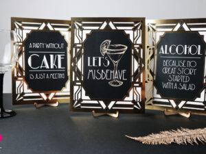 tabliczki weselne na drink bar w stylu Great Gatsby