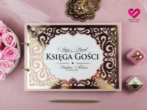 Elegancka księga gości najpiękniejsze księgi gości złoto i róż