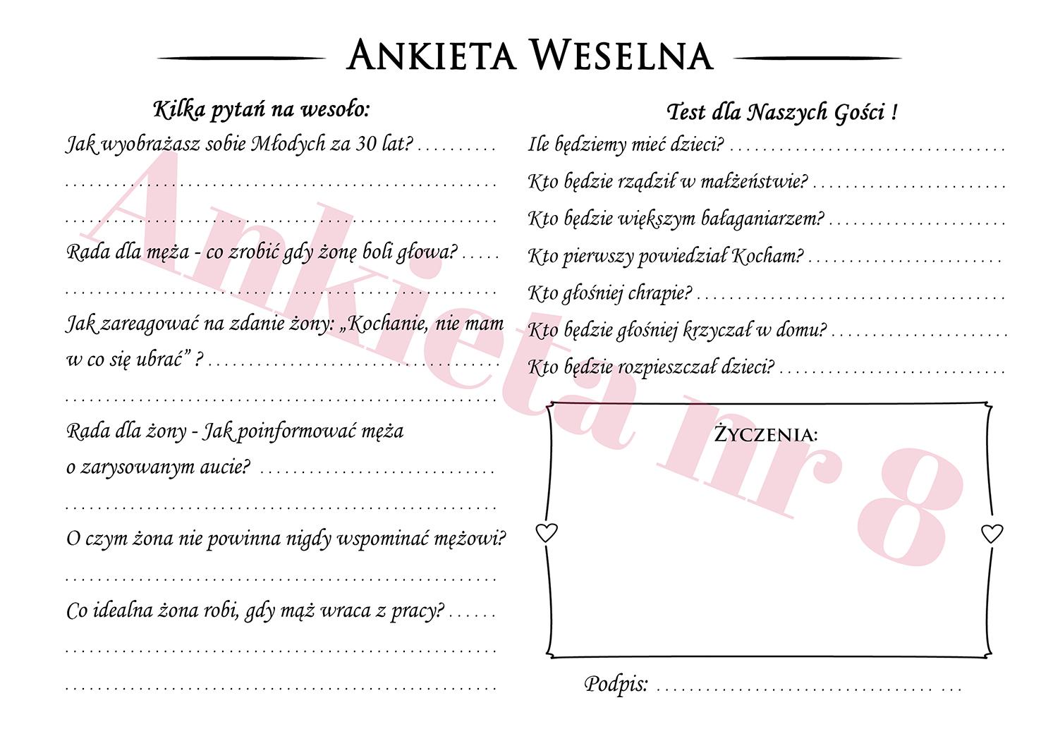 Ankieta weselna dla gości weselnych