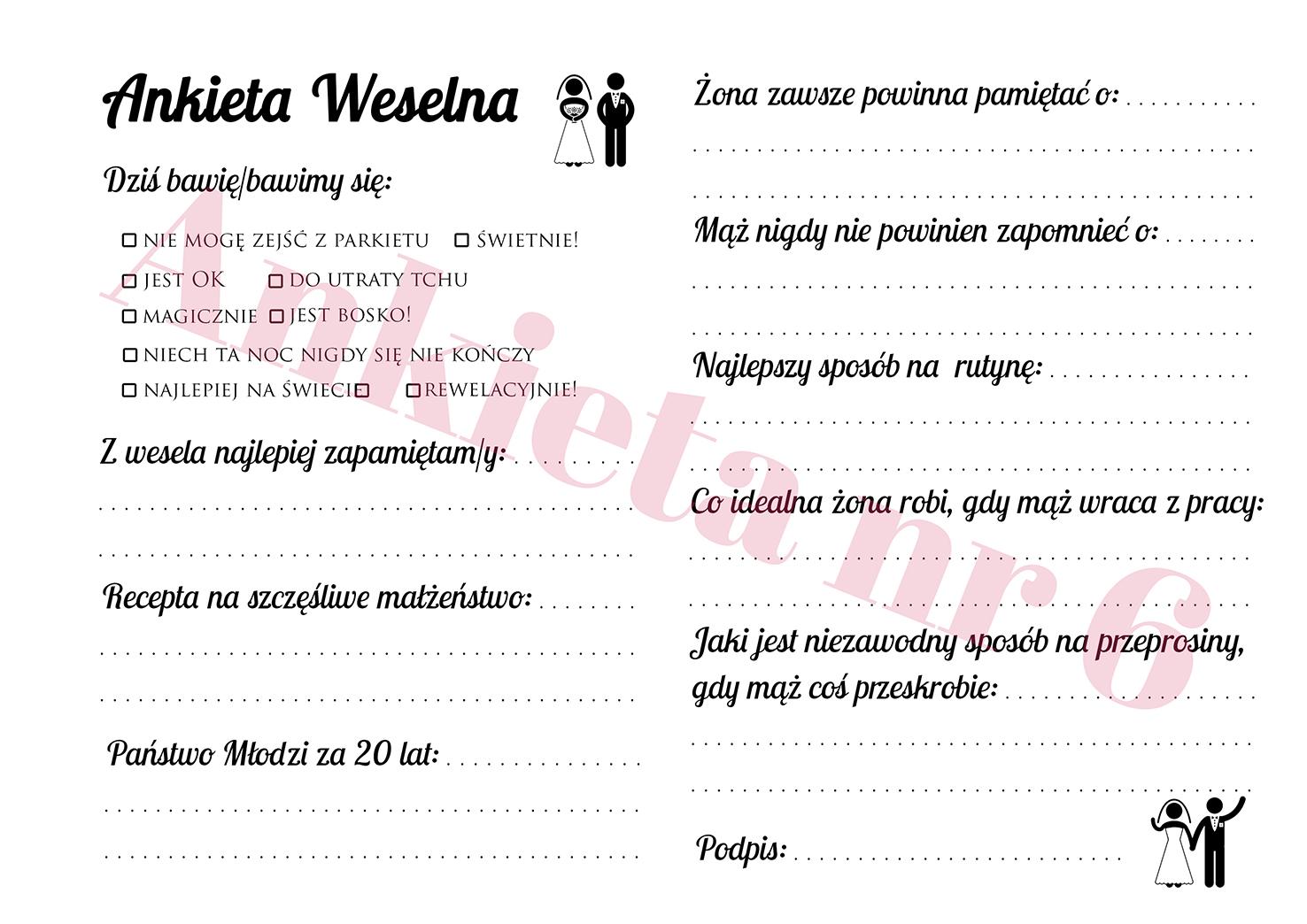 Ankiety weselne ślubne