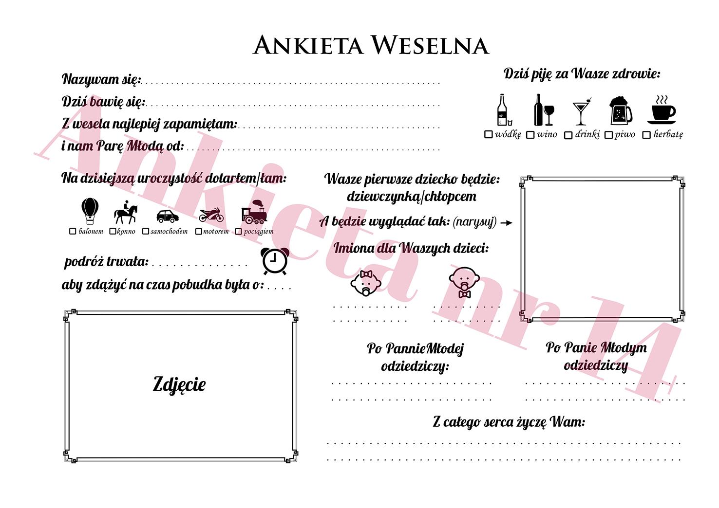 Ankieta weselna instax zdjęcia