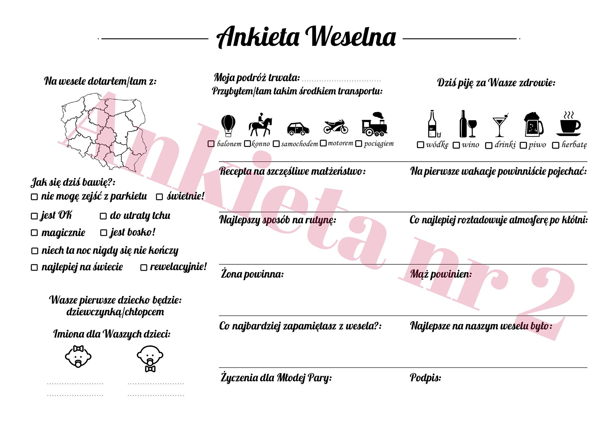 Ankiety weselne księga